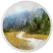 Foggy Morning On Mount Mansfield - 2014 Round Beach Towel