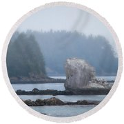 Foggy Morning On The Pacific Coast Round Beach Towel