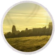 Foggy Morning Over Kennet Village Round Beach Towel