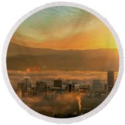 Foggy Morning Over Portland Cityscape During Sunrise Round Beach Towel