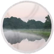 Foggy Morning Reflections Round Beach Towel