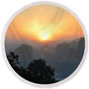 Foggy Morning Sunrise Round Beach Towel