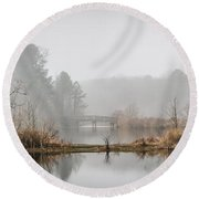 Foggy Morning View Of The Bridge Round Beach Towel