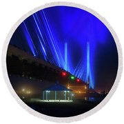 Foggy Night At The Indian River Bridge Round Beach Towel