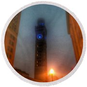 Foggy Night - The Bromo Seltzer Tower Round Beach Towel