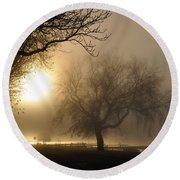 Foggy November Sunrise On The Bay Round Beach Towel