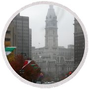 Foggy Philadelphia Round Beach Towel