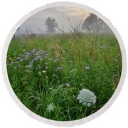 Foggy Prairie In Glacial Park In Mchenry County Round Beach Towel