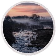 Foggy Sunrise At Chasewater Round Beach Towel