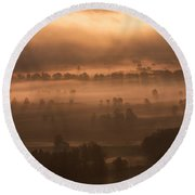 Slovenia - Ljubljana Marshes - Foggy Morning Round Beach Towel