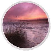 Foggy Sunset At Singing Sands Round Beach Towel