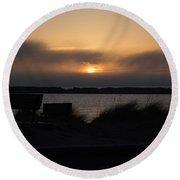 Foggy Sunset Round Beach Towel