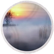 Foggy Tree 2 Round Beach Towel