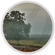 Foggy Tree In The Field Round Beach Towel
