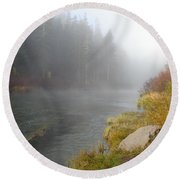 Foggy Truckee River Round Beach Towel