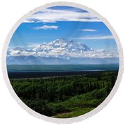 Foggy Valley  Round Beach Towel