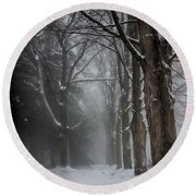 Foggy Vermont Winter Path Round Beach Towel