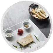 Foie Gras French Traditional Duck Pate With Bread  Round Beach Towel