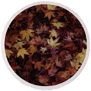 Foil Leaves Round Beach Towel