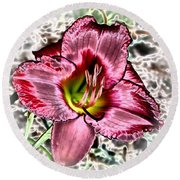 Foiled Beauty - Daylily Round Beach Towel