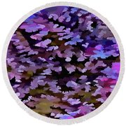 Foliage Abstract In Blue, Pink And Sienna Round Beach Towel