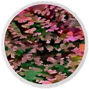 Foliage Abstract In Pink, Peach And Green Round Beach Towel
