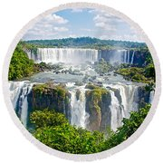 Foliage In And Around Waterfalls In Iguazu Falls National Park-brazil  Round Beach Towel
