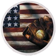 Folk Art American Flag And Baseball Mitt Round Beach Towel by Garry Gay
