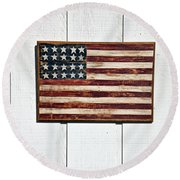 Folk Art American Flag On Wooden Wall Round Beach Towel by Garry Gay