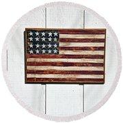 Folk Art American Flag On Wooden Wall Round Beach Towel