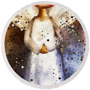 Folk Art Angel Round Beach Towel
