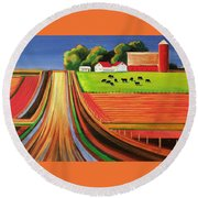 Folk Art Farm Round Beach Towel