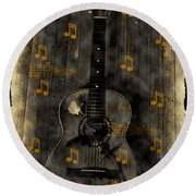 Folk Guitar Round Beach Towel