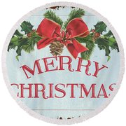Folk Merry Christmas Round Beach Towel