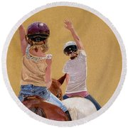 Follow The Leader - Horseback Riding Lesson Painting Round Beach Towel