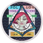 Follow Your Own Inner Compas Round Beach Towel