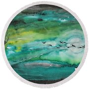Following The Moon Round Beach Towel