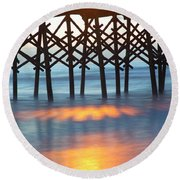 Folly Beach Abstract Round Beach Towel