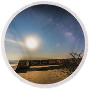 Folly Beach Milky Way Round Beach Towel