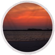 Folly Beach Sunset Round Beach Towel