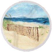 Folly Field Fence Round Beach Towel by Kathryn Riley Parker