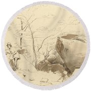 Fontainebleau, Figure Leaning Against A Rock Round Beach Towel