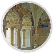 Fontevraud Abbey Refectory, Loire, France Round Beach Towel
