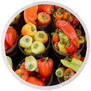 Food - Peppers Round Beach Towel by Paul Ward