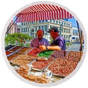 Food Booth In Valparaiso Square-chile Round Beach Towel