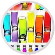Food Coloring Ensemble-rainbow Theme Round Beach Towel