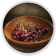 Food - Grapes - A Bowl Of Grapes  Round Beach Towel by Mike Savad