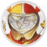 Fools Cap World Map, C1590 Round Beach Towel