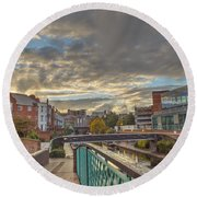 Foot Bridge At Gas Street Basin  Birmingham Round Beach Towel