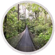 Foot Bridge In Costa Rica Round Beach Towel